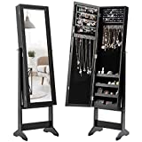 Giantex Jewelry Cabinet with Full-Length Mirror, Standing Jewelry Armoire Organizer with 64 Earring Slots, 20 Necklace Hooks, 72 Ring Slots, 4 Shelves for Makeup, 3 Angel Adjustable (Black)