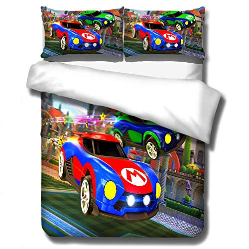 Fadaseo Duvet Covers Set King 240 X 220 Cm 3D Printing Cartoon Game Street Car 3 Pieces Bedding Set. Easy Care And Super Soft Cotton Design.With 2 Pillowcases Hypoallergenic