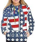 RROOT - Sudadera con Capucha para niñas y Mujeres Bandera Estadounidense de Nueva York con Estrellas XL