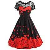 manadlian Vintage Rose Spitzenkleid, Damen Sommerkleid Kurzarm Brief Drucken Party Kleid Übergröße Swing Spitzenkleid Partykleid Frühling Sommer Herbst (3XL, Rot)