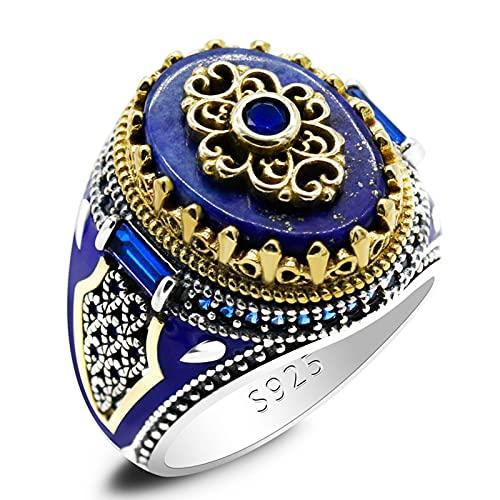 ZiFei Anillo de Corona Vintage con Piedra de Lapislázuli Natural para Hombres, Anillos de CZ de Esmalte Azul de Plata de Ley 925, Regalo de Joyería Turca Masculina,Azul,9