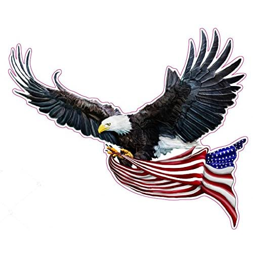 "Awesome Chrome Stars Eagle American Flag United We Stand Decal 5/"""
