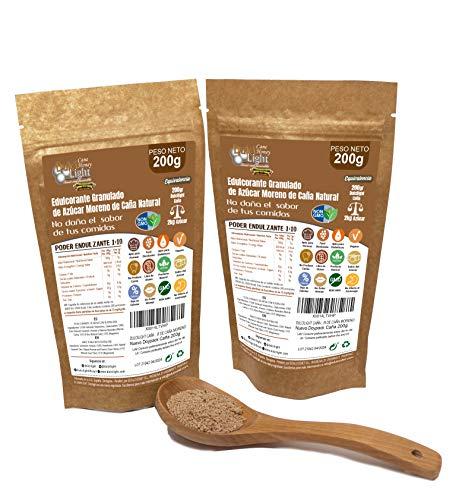 Dulcilight Cane 200 Gramm, Packung 2 Einheiten, Gesamt = 400 Gramm - Süßkraft 1:10 entspricht 4 kg Zucker, Premium-Produkt - Bietet den natürlichen Geschmack von braunem Rohrzucker