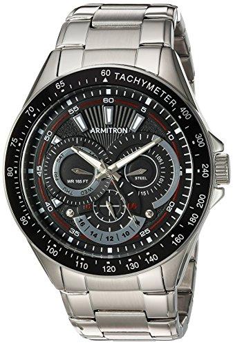Armitron Men's 20/5197BKSV Multi-Function Dial Silver-Tone Bracelet Watch