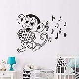 Dibujos animados monkey play acordeón etiqueta de la pared para niños decoración de la habitación símbolo de la música calcomanía decoración del hogar 59 * 45 cm