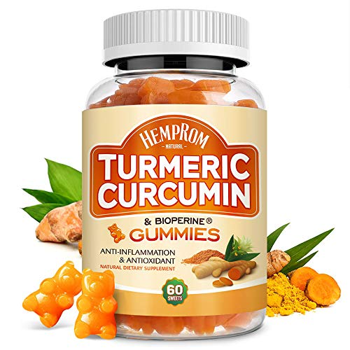 Turmeric Curcumin with BioPerine Highest Potency 95% Standardized Curcuminoids Premium Turmeric Gummies with Black Pepper for Joint Reduce,Pain and Stress Relief,Calm & Mood Support-60 Counts