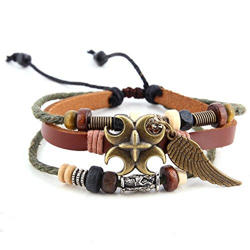 Morella Damen Armband aus Leder mit Perlen und Flügel Anhänger