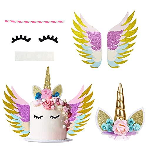 CYSJ Unicornio decoración Tarta Unicorn Cake Topper Set with Wings Gold Glitter Unicorn Horn Decoración de Unicornio para Fiesta del bebé, Boda y cumpleaños