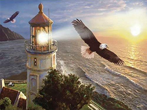 5D DiyDiamante Pintura Conjunto Completo De Herramientas Rhinestone Bordado Punto De Cruz Lienzo Pared Dormitorio Decoración Del Hogar Arte Mar Faro Águila