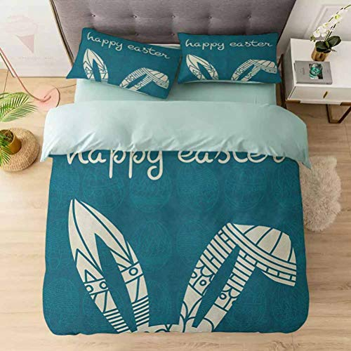 Duvet Cover Set, Bunny Ears with Ornate Circles and Rectangles on a Dark Toned Egg Backgr, 1 Duvet Cover with 2 Pillowcases-Hypoallergenic, Easy Care, Soft and Durable, Cream Petrol Blue