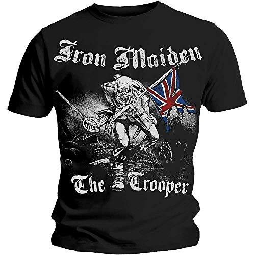Rock Off Iron Maiden Sketched Trooper Maglietta, Nero (Noir (Black), M Uomo