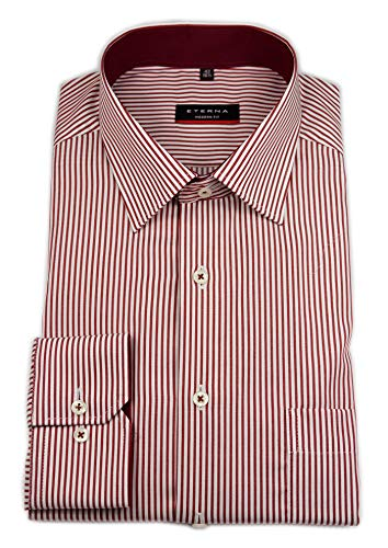 eterna Herren Langarm Hemd Modern Fit Modern-Kent Twill Gestreift Patch Brustttasche 3151.X15P (Rot, 42)