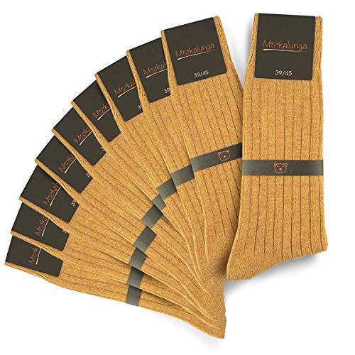 Mokalunga Chaussettes homme caramel (Lot de 10 paires) - Fabriqué en europe