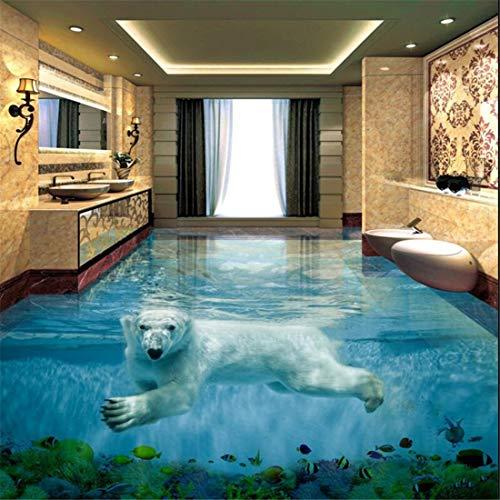 Eisbär Unterwasserwelt 3D Stereo Badezimmer Boden große benutzerdefiniertewasserdichte Tapete, 350 * 245 cm