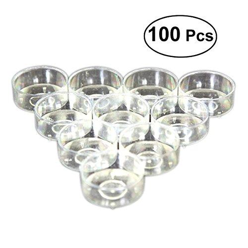 rosenice 100 Stücke Teelichthüllen Kunststoff Kerzenglas transparente Kerzenhalter für Kerzen Dekor