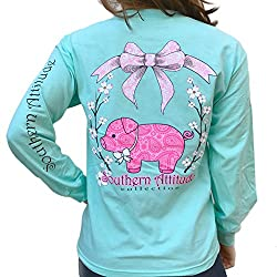 Southern Attitude Pig Sea Foam Green Preppy Long Sleeve Shirt