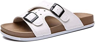 Xujw-shoes, 2019 Mens Sandals Sandals Mens Open Toe Buckle Decoration Balck White Slippers for Men Sandals Casual Slip On Style PU Leather Simple Pure Color Breathable