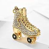 Chun Roller Patines Llavero,Glitter Rhinestone Llaveros,Elegante aleación de metal (oro)