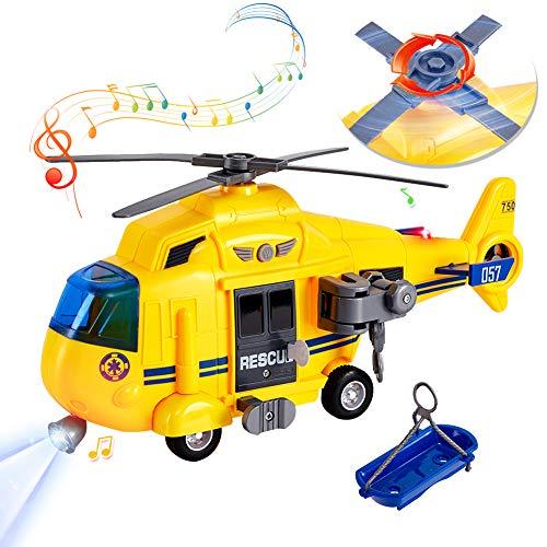 HERSITY 1:16 Flugzeug Spielzeug Groß mit Licht und Sound Helikopter Kinderspielzeug Hubschrauber mit Bewegliche Rotoren Geschenk für Kinder Junge