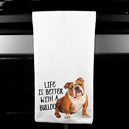 Live is Better with a Bulldog Waffle Microfiber Kitchen Tea Bar Towel Gift for Animal Dog Lover