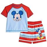 Disney Mickey Mouse Baby Boys Raglan Rash Guard Swim Trunks Set Blue/Red 12 Months