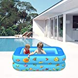 La última piscina inflable está altamente sellada, Piscina inflable, Piscina para niños de verano, Tema del océano Piscina Piscina PVC Rectangular Inflable Diseño antideslizante, Azul, 110 × 85 × 35 c
