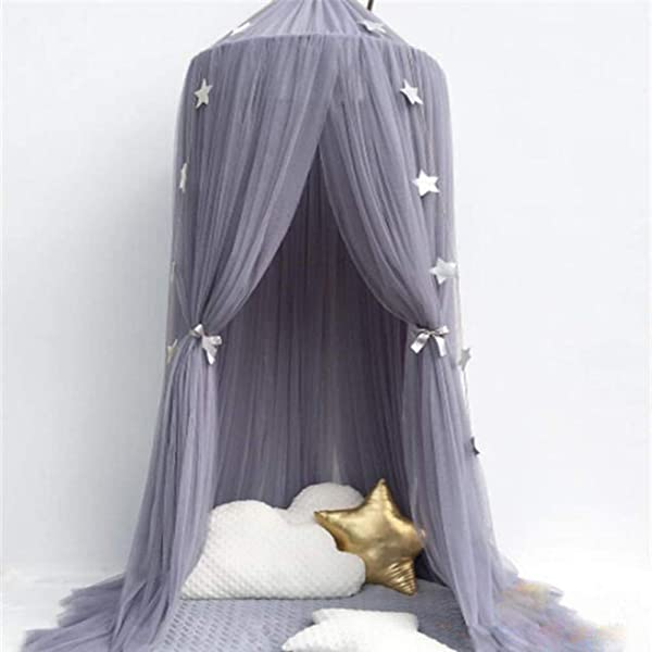 Fantastic Double Layer Mosquito Net Bed Canopy Round Lace Dome Netting Hanging Curtains Castle Play Tent Bedding For Kids Indoor Reading Playing Games House Decoration B Gray