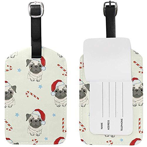 Mops-Hund im Weihnachtshut-Gepäckanhänger-Reise-Identifikations-Aufkleber-Leder für Gepäck-Koffer 2 Stück