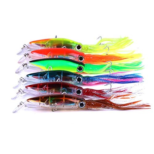 East Rain Squid Swimbait Hard Lures Lingcod Rockfish Saltwater Fishing Octopus Jig Head(5.51in/14cm,1.41oz./40g,6 Colors Option)