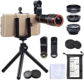 iPhone Camera Lens, 12x Telephoto Lens + 0.63x Wide Angle & Macro Lenses + 180° Fisheye Lens, Clip-On Lenses for iPhone X 8 7 6s 6 Plus, Samsung Smartphones & Tablet