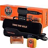 TAME'S ELITE BEARD STRAIGHTENER BRUSH - Anti-Scald Beard Straightening Comb - Heated Beard Brush - Ionic - Ceramic - 12 Temp Settings - Best for Beards Over 2' Long - Sturdy Travel/Storage Case