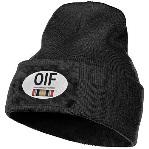 Operation Iraqi Freedom OIF 1 Estrella Hombres Mujeres Gorro de Punto Gorro de Calavera Gorro de Invierno cálido y Suave Gorro de esquí