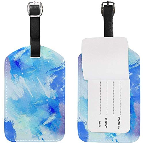 Etiqueta de Equipaje Acuarela Azul Mar Color Imprimir Etiqueta de Viaje Titular de la Tarjeta de Nombre para Equipaje Maleta Bolsa 1 Pieza