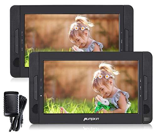 """Pumpkin 10.1\"""" Reproductor DVD Portátil con 2 Pantalla para Reposacabezas de Coche, Soporta SD/ USB/ CD/ DVD Región Libre, 4 Horas Batería Recargable con Mando a Distancia"""