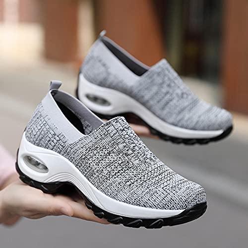 Aerlan Straßenlaufschuhe,Zapatos de Mujer Zapatillas de Deporte Casuales Senderismo Zapatos de Senderismo-Gris Claro_38,Calzado Deportivo para Hombre y Mujer