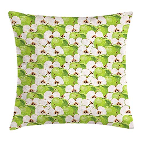 LOPEZ KENT Apple Throw Pillow Cushion Cover, Fresh Green Apples and Slices with Seeds Water Drops Vivid Illustration, Decorative Square Accent Pillow Case, 18 X 18 Inches, Apple Green Brown Cream