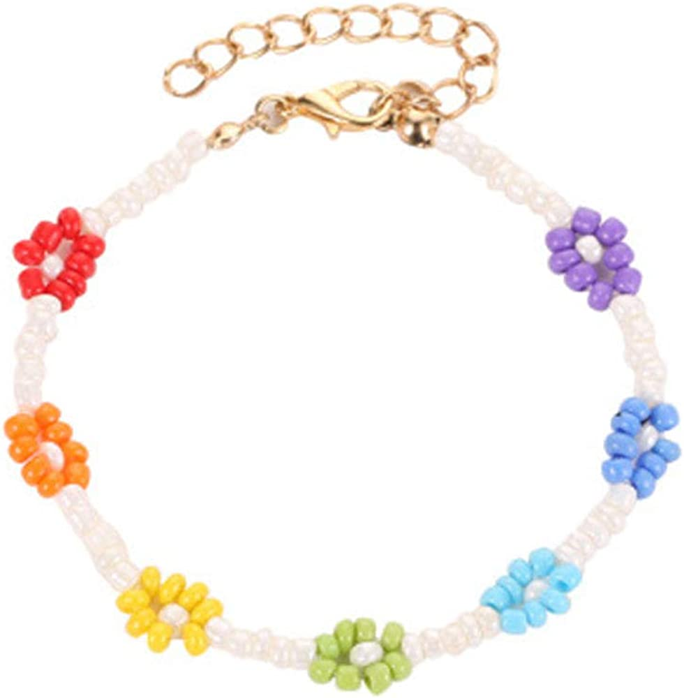 The Woo's Bohemian Multi-Colored Cuff Bracelet Rainbow Bead New Boho Rainbow Cross Flower Bangle for Women Handmade Jewelry Friendship Crystal Anklets for Party Vocation Summer Beach Surf