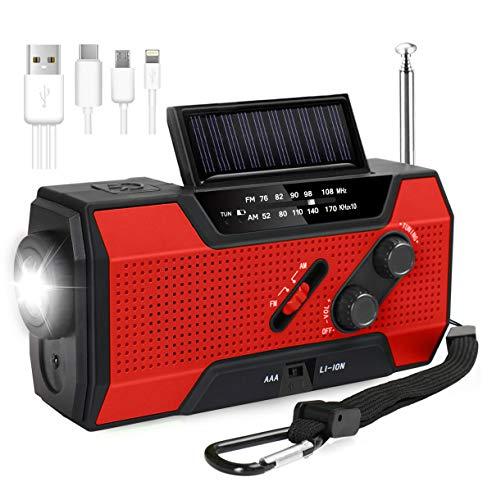 Joyoldelf 防災ラジオ ラジオライト 手回しラジオ 大容量2000mAh AM FMラジオ LED懐中電灯 SOSベル 非常時スマホ充電器 電池・usb ・手回し・ソーラー4つ充電方式 3in1 スマホ用usbケーブル 日本語取り扱い説明書