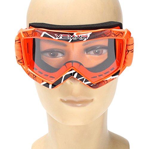 YONGYAO Niños Moto Cross Racing Casco Gafas Gafas Protector-Naranja