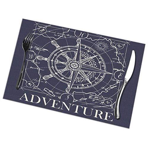 Juego de 6 manteles individuales antideslizantes, lavables, náuticos, retro, rosa de los vientos, brújula, volante, mapa, océano, aventura, azul marino