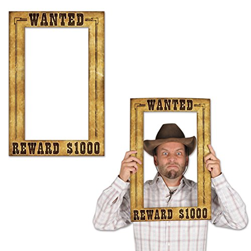 Beistle Wanted Photo Booth Fun Selfie Rahmen Western Party Supplies, 39,4 x 59,7 cm, mehrfarbig