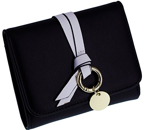 ABC STORY Girls Small Cute Wallet for Women Black Leather Trifold with Zipper Coins Pocket
