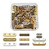 Fashewelry 150Pcs Tibetan Mixed 3-Hole Rectangle Spacer Bar Metal Beads 10.5-24mm Multilayer Multi-Strand Charm Links for Jewelry Bracelet Making