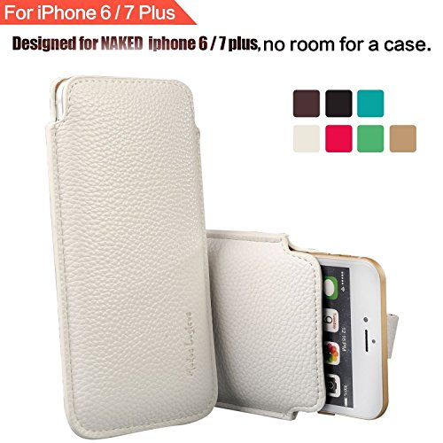 Apple iPhone 8 Plus/iPhone 7 Plus/iPhone 6 Plus/iPhone 6S Plus 5.5' Phone Sleeve , Elastic Pull Strap , Synthetic Leather Protective Sleeve Pouch Cover , Professional Executive Case Design - White