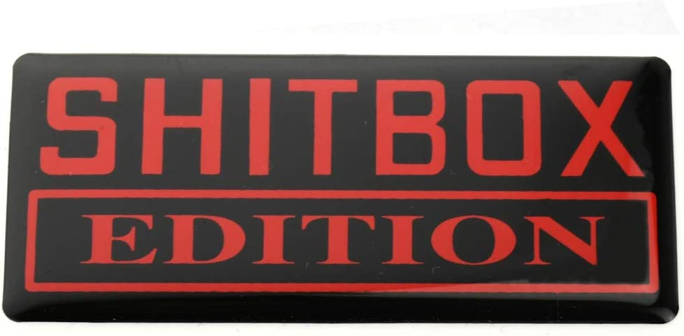 1x SHITBOX EDITION Emblem Urethane 3D Badges Decal Sticker Replacement for GMC Chevy 150 250 350 Car Truck White