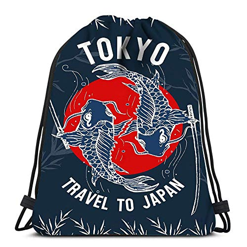Hdadwy Mochila con cordón Bolsas Viajar a Japón Tokio Japón Carp Art Bolsas de Hombro portátiles Bolsa de Deporte de Viaje Bolsa de Gimnasio
