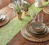 AmaCasa Tischläufer Ornament Wasserabweisend | Tischband mit Lotoseffekt | 30cm/20m | Grün | Dekorativ für Partys und andere Feierlichkeiten | Abwaschbarer Tischläufer zum wiederverwenden - 9