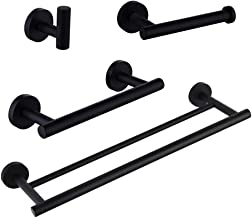 SUS 304 Stainless Steel Bathroom Hardware Set Matte Black 4 Pieces Bathroom Hardware Accessories Sets Wall Mounted Double ...