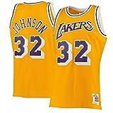 ZHANGYU Magic Sportswear Johnson Camiseta de baloncesto de manga corta de los Angeles Lakers #32 Hardwood Classics Swingman Jersey Oro - Icon Edition-L