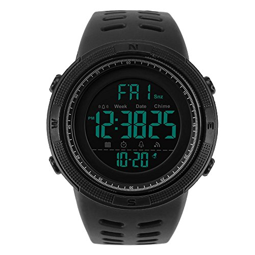 Digitaal herenhorloge van PC met ronde wijzerplaat met waterdicht achterlicht.